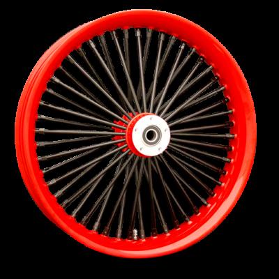 Red Rim, Red Hub, Black Nipples and Black Spokes
