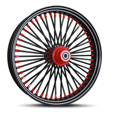 Black Outer and Spokes with Red Hub and Nipples