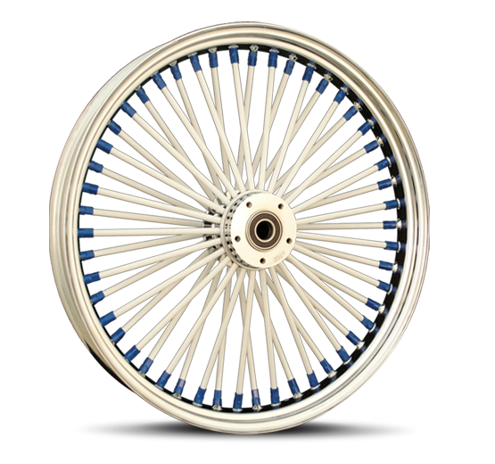 White Spokes Blue Nipples Motorcycle Wheel Custom