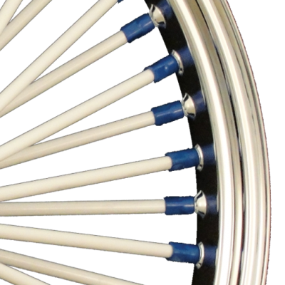 White Spokes and Blue Nipples
